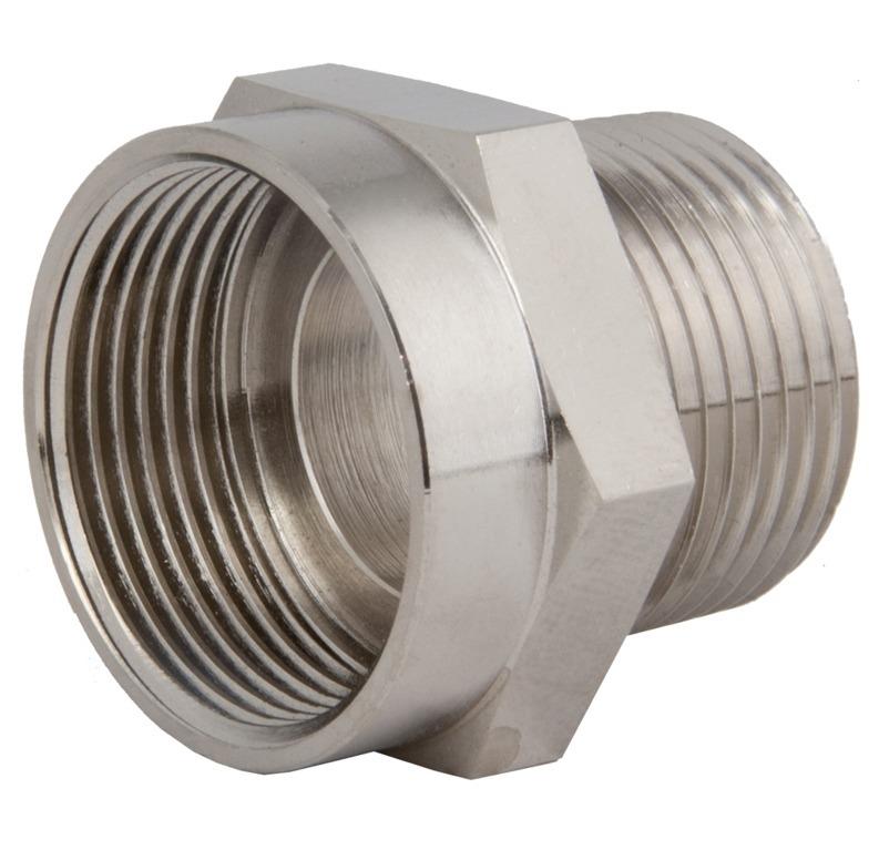 "Sealcon: Nickel Plated Brass Thread Adapter 1/2"" NPT To M20 X 1.5 Threads"