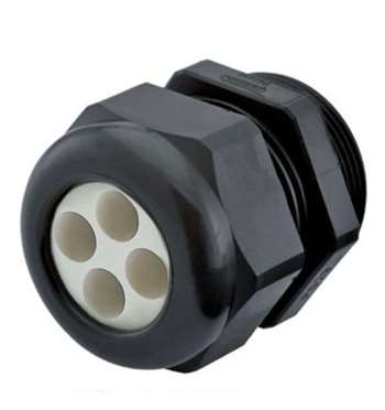 Strain Relief, Multi-Hole, Dome Top, Black Nylon, PG11, Holes: 4 X .11″ (2.8 Mm), 1.597.1104.01