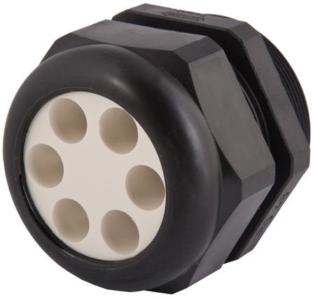 Strain Relief, Multi-Hole, Dome Top, Black Nylon, M12 X 1.5, Solid Insert, 1.597.1299.51
