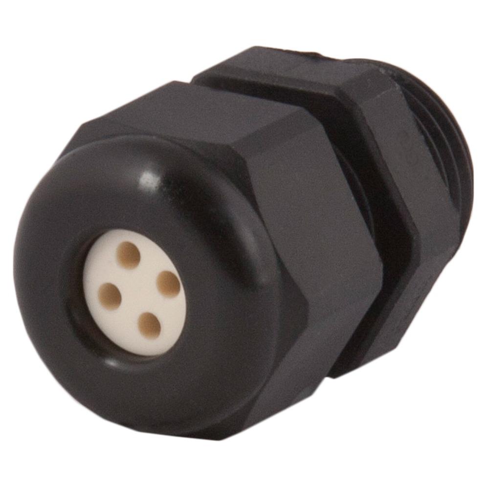 Strain Relief, Multi-Hole, Dome Top, Black Nylon, PG16, Holes: 5 X .16″ (4.0 Mm), 1.597.1603.01