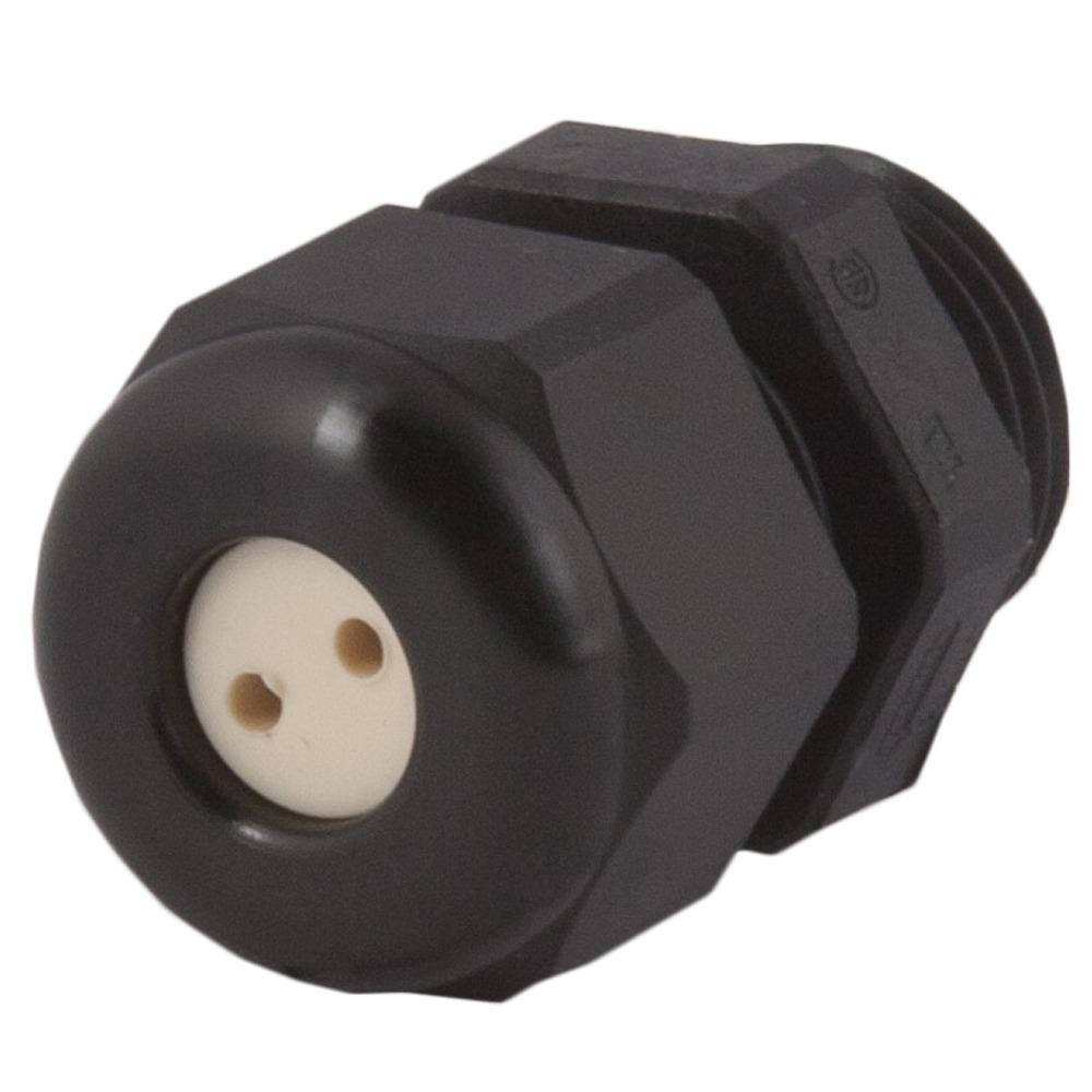 Strain Relief, Multi-Hole, Dome Top, Black Nylon, 3/8″NPT, Holes: 2 X .12″ (3.0 Mm), 1.597.3801.71