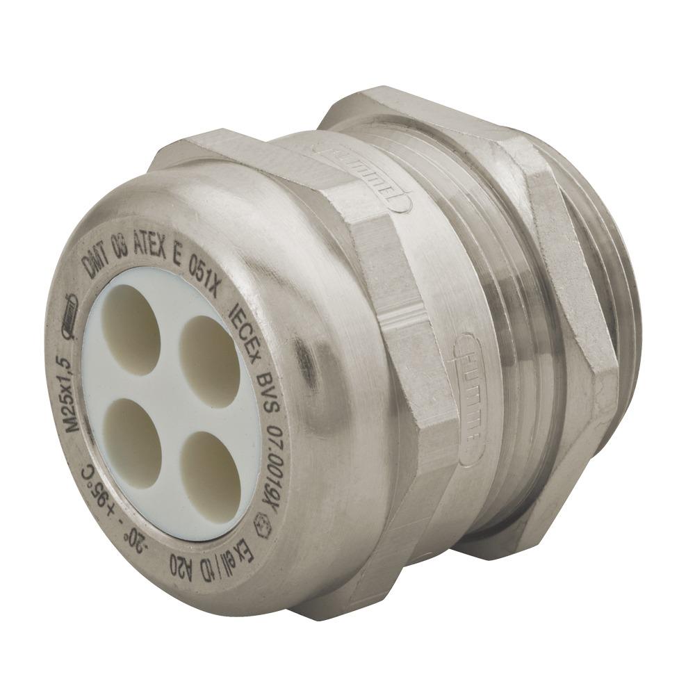 "Sealcon Part #: CD16N4-MX, Nickel Plated Brass Multi-Hole Strain Relief, Thread Range: 1/2"" NPT, Diameter Of Holes .16"" (4 Mm)"