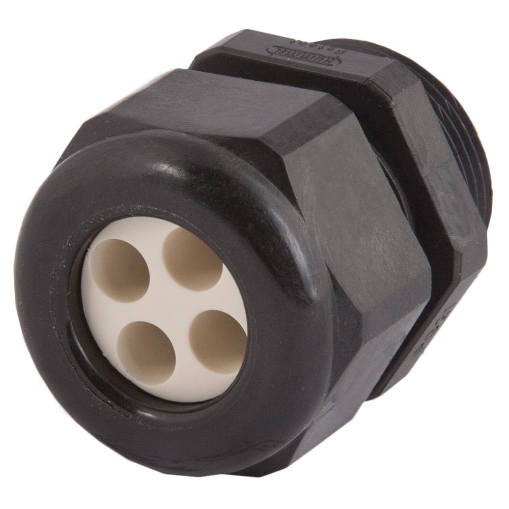 1.599.2504.51 Strain Relief, Multi-Hole, For Hazardous Locations, Dome Top, Black Nylon M25 X 1.5